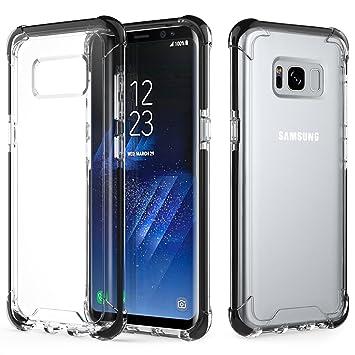 low priced 46609 a4f80 MoKo Galaxy S8 Case, Crystal Clear TPU Bumper Gel Case Shockproof TPE Edge  + Rigid PC Hard Back Cover for Samsung Galaxy S8 5.8 Inch (2017) - Black