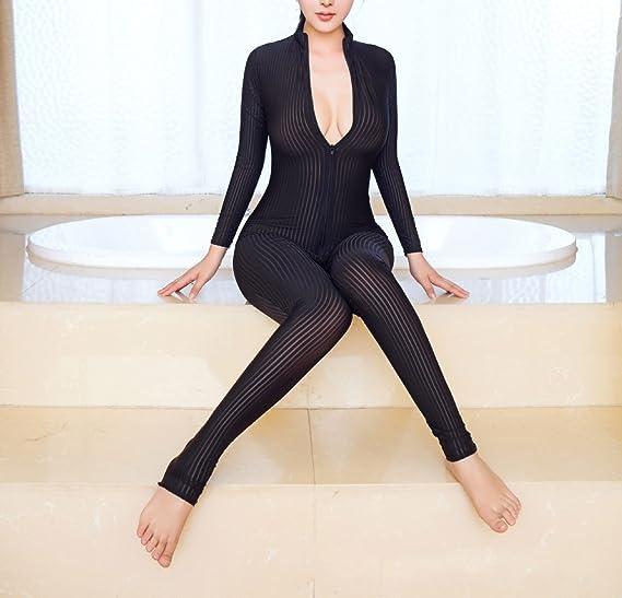 d910d11dbfbe Amazon.com  Zukzi Womens Zipper Front Long Sleeve Full Bodysuit Stripe  Tight Jumpsuit