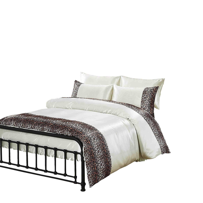 Tiger Zebra Satin 6 Pcs Silky Sexy Bedding Set Queen Duvet
