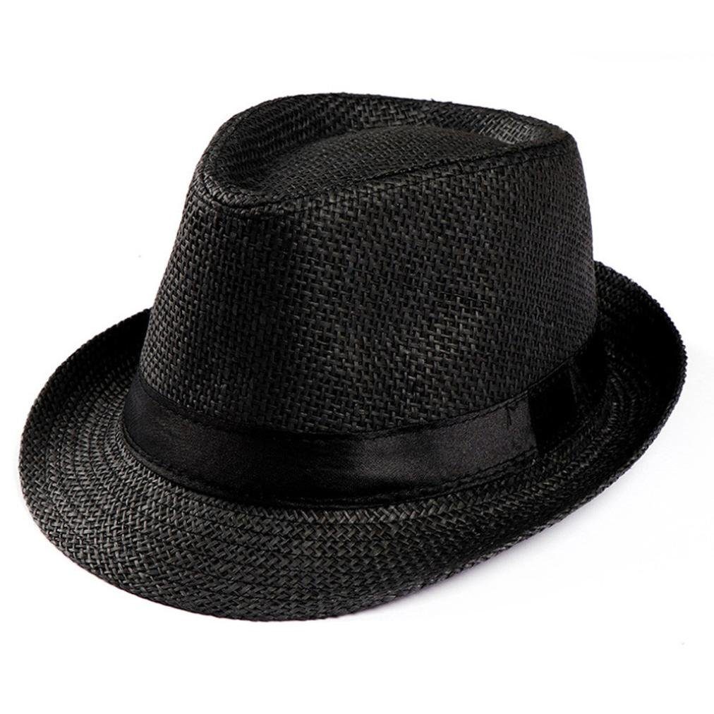 Holiday Summer Trilby,Vanvler Gangster Cap Straw Sun Hat for Men Women (Black)