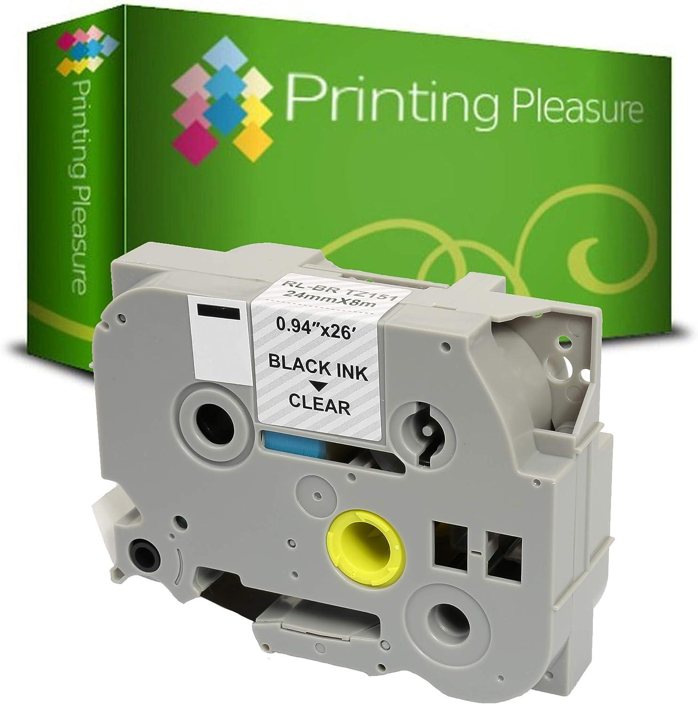 Printing Pleasure 20 x TZe-251 TZ-251 Negro sobre Blanco Cinta de Etiquetas Compatible con Brother/P-Touch 24mm x 8m laminada estand/ár