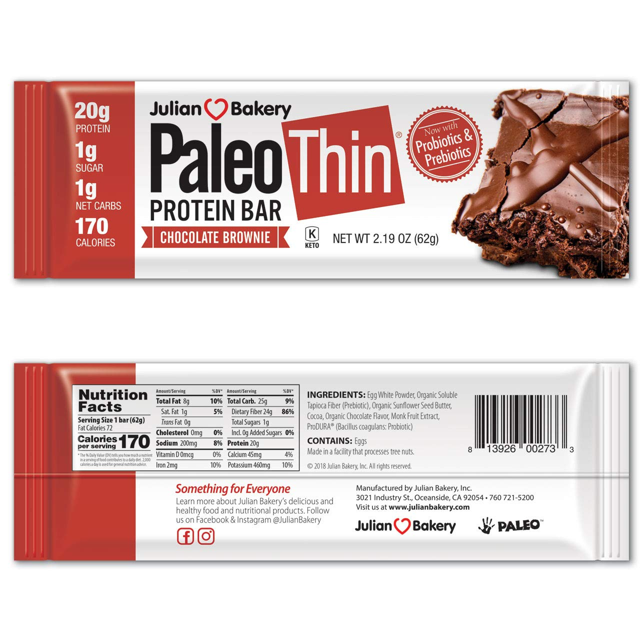 Julian Bakery Paleo Thin Protein Bars (Chocolate Brownie) (Gluten-Free) (1g Sugar) 12 Bars