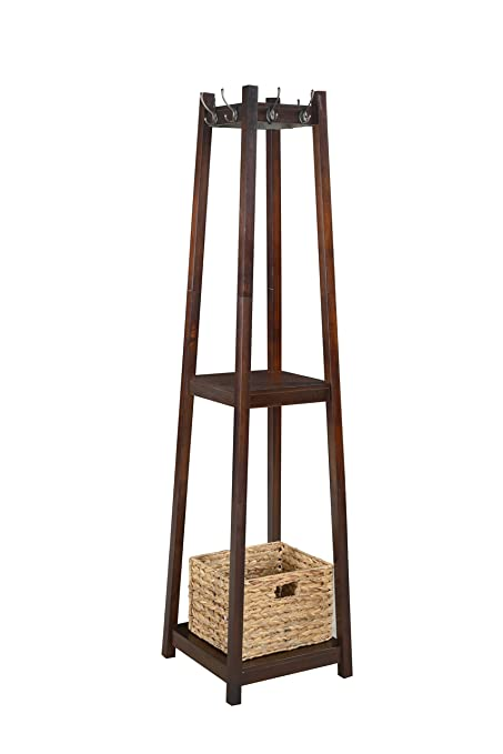 Superior H2O Coat Rack Tower, Free Standing With 2 Shelves And 1 Storage Basket,  Light Good Looking