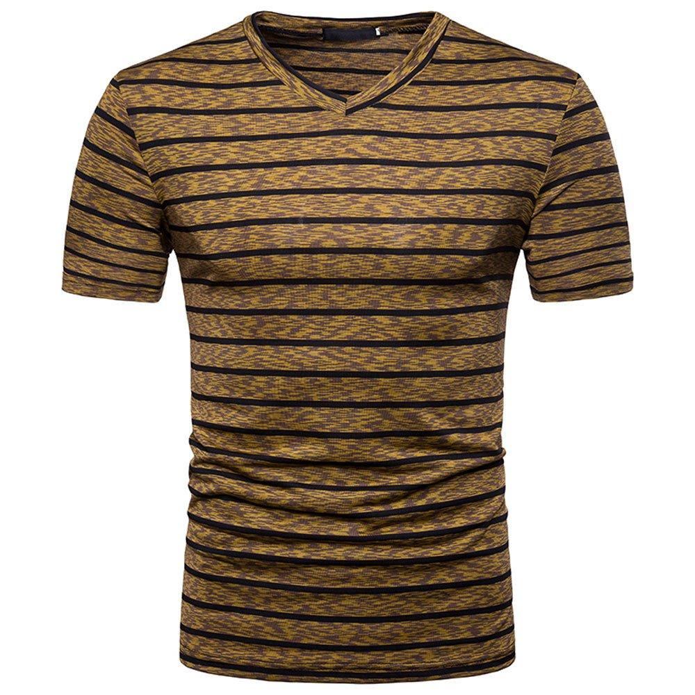 Stripe T Shirts for Men, MISYYA V Neck Polo Shirt Breathable Sweatshirt Muscle Tank Top Masculinity Undershirt Mens Tops Coffee