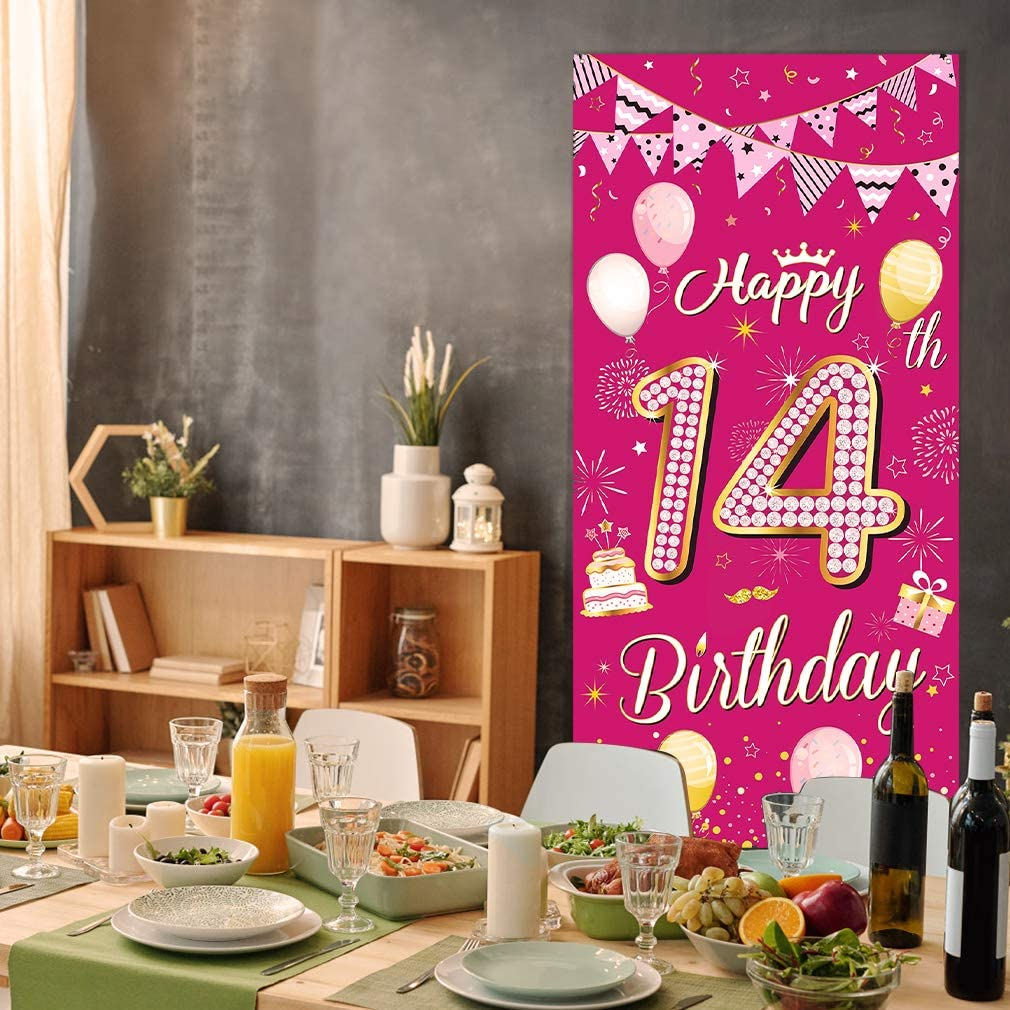 DUAIAI Happy 1st Birthday Banner,Durable Pink Glitter Cheer to 1st Year Photo Booth Backdrop Background Banner for 1st Birthday Party