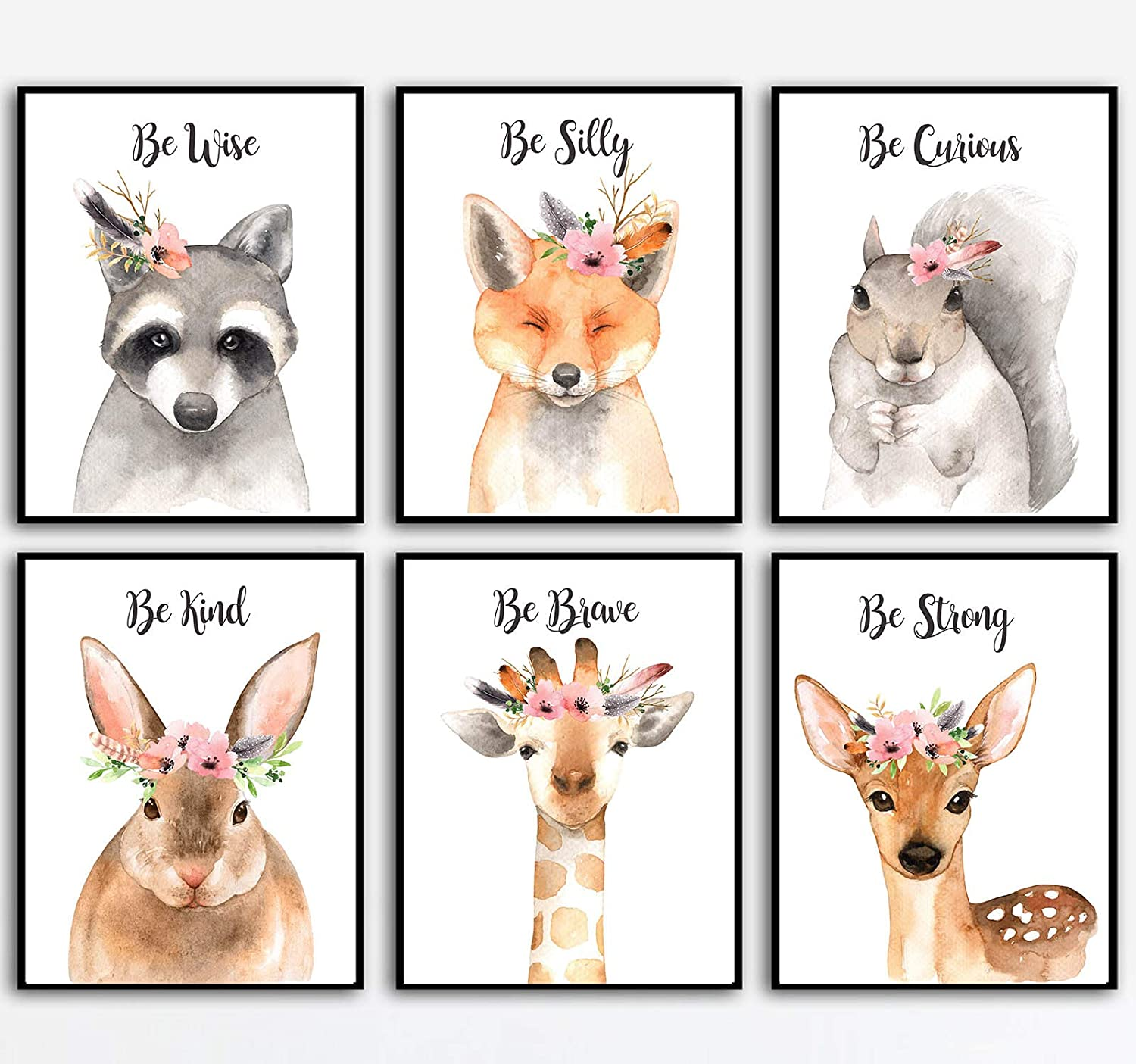 Woodland Animals Nursery Wall Art - Watercolor Floral Woodland Nursery Paintings - Woodland Wall Decor - Baby Decor Cute Quotes- 8x10 (Unframed) Set of 6 Prints