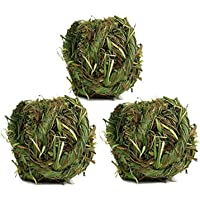 Tfwadmx Natural Timothy Grass Ball Bunny Woven Grass Ball Hay Play Ball Chew Toy for Hamster Rabbit Rat Gerbil Guinea…