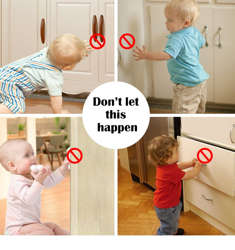 TOOLIC Magnetic Child Safety Locks Kits for Cabinet Drawer Cupboard Door Baby Proof Invisible No Drilling Design (3 Keys & 20 Locks) by TOOLIC (Image #2)