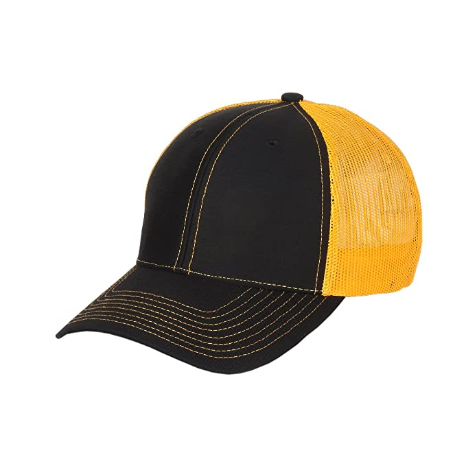 6308f2ad874 1611MAIN Richardson Twill Mesh Back Trucker Hat With Adjustable Plastic  Snapback (Black Gold)