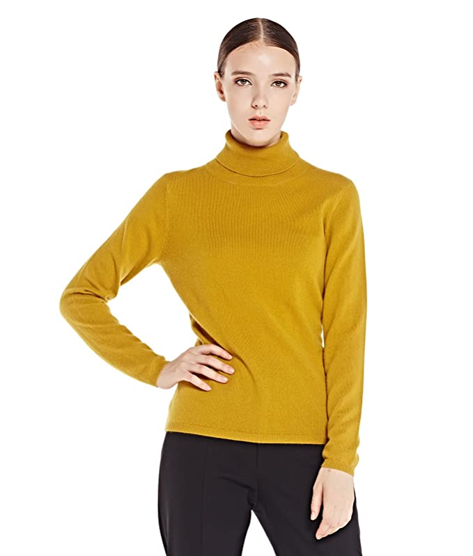 Turtle-neck Long Sleeve 100% Cashmere Pullover Sweater