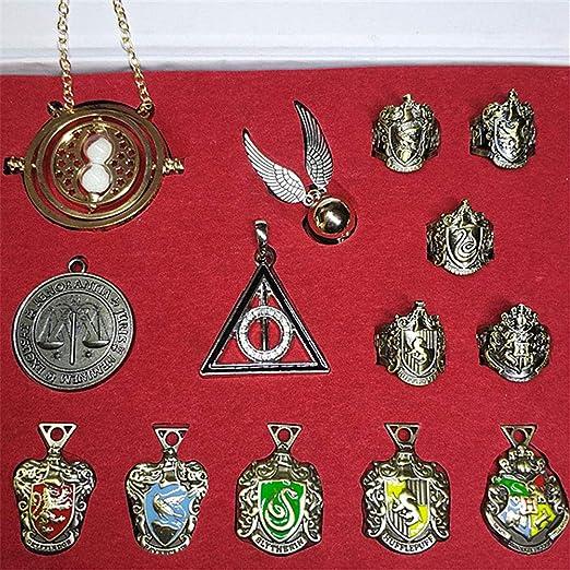 Daxoon Harry Potter Caja de Regalo de 15 Piezas, Harry Potters 4 Varita + Serie de 5 Piezas Insignia + Cadena Hermione + Llaves de Las Reliquias de la ...