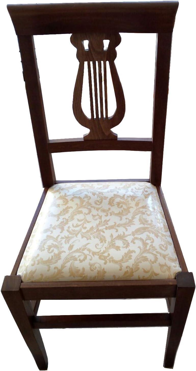 Set 2 PZ Sedia Lira in Legno massello Colore Noce con Seduta in Tessuto Imbottito