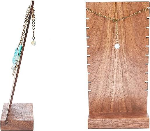 PandaHall Soporte de madera para collares y pulseras 9 ranuras
