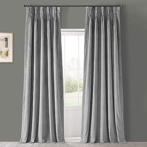 HPD Half Price Drapes VPCH-145002-120-FP Signature Pleated Blackout Velvet Curtain 1 Panel
