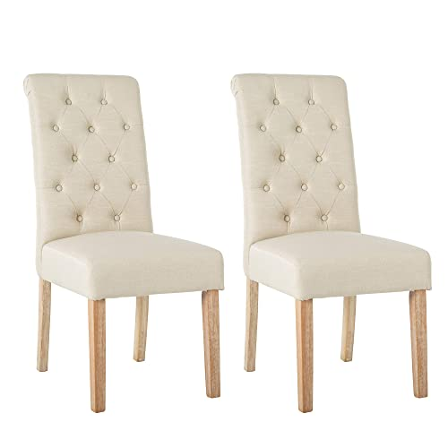 NOBPEINT Fabric Upholstered Dining Chair Solid Wood Legs, Beige Set of 2