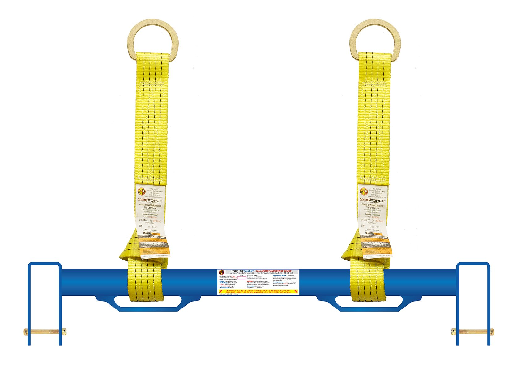 Super Anchor Safety 2831 Truss Bar Bolt On Anchor with 2 Tie-Off Straps