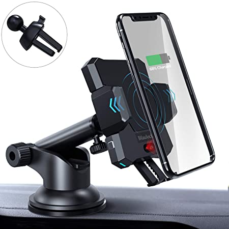 Blaulock Wireless Car Charger Mount, FR Sensor Auto-Clamping QI Wireless Charging Car Mount with Air Vent Clip Strong Suction Cup for iPhone 11 Xs XR 8 Samsung S10 S8 Other Wireless Charging Phones