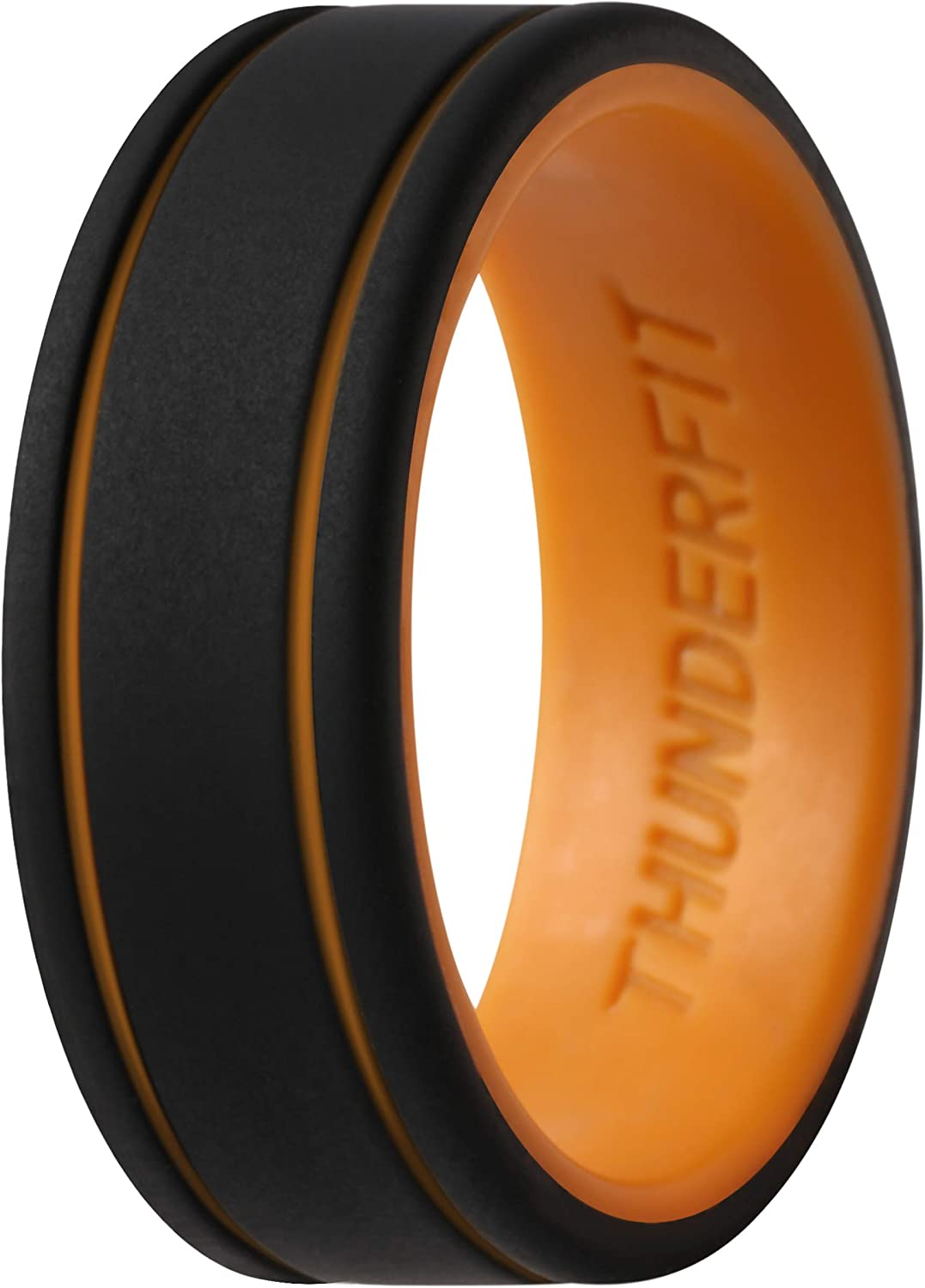 ThunderFit Men Silicone Wedding Rings 2 Layer 7 Rings // 4 Rings // 1 Ring 8mm Width 2mm Thickness Rubber Engagement Bands