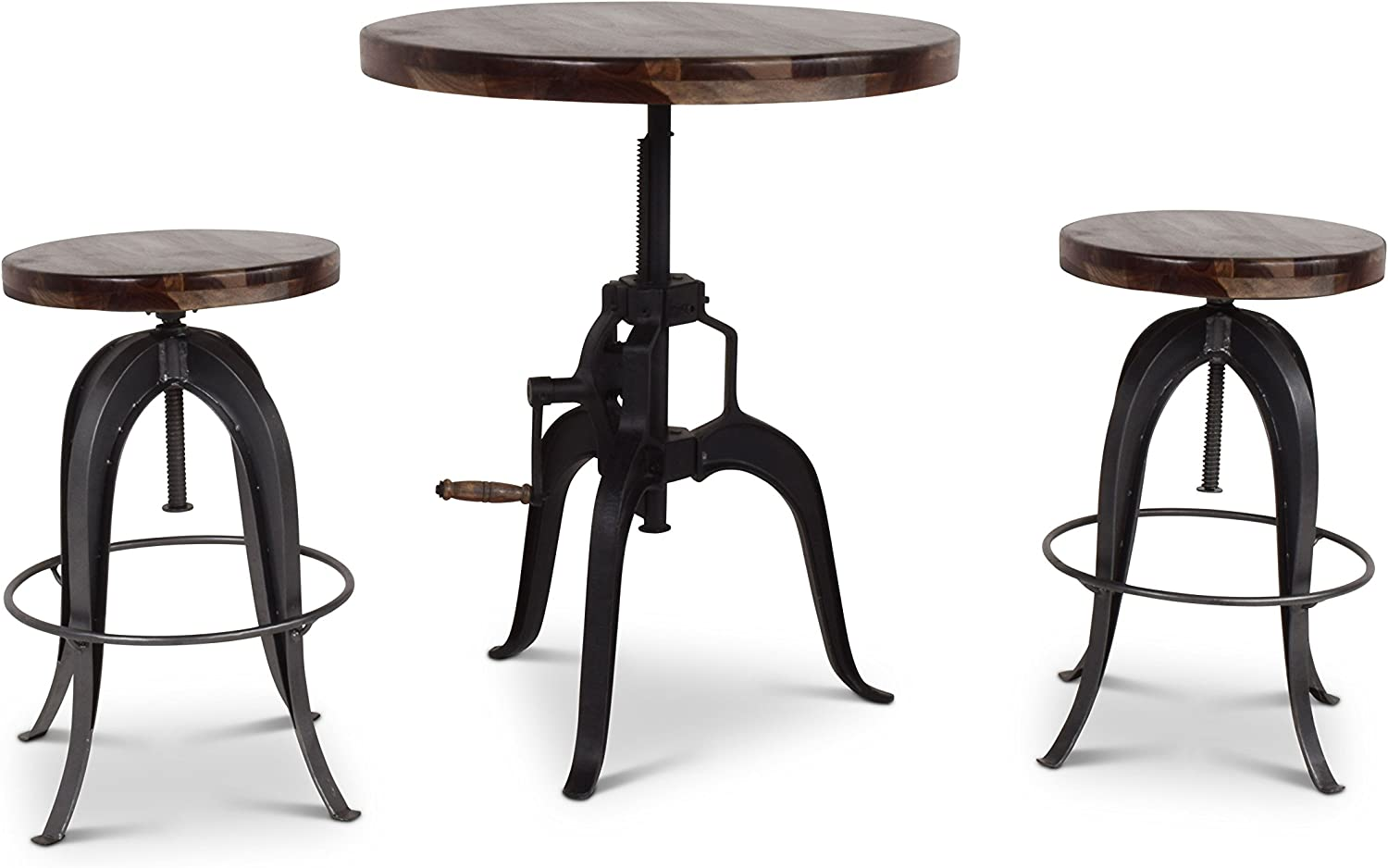 Steve Silver Sparrow 30 Round Adjustable Crank Pub Table in Russet