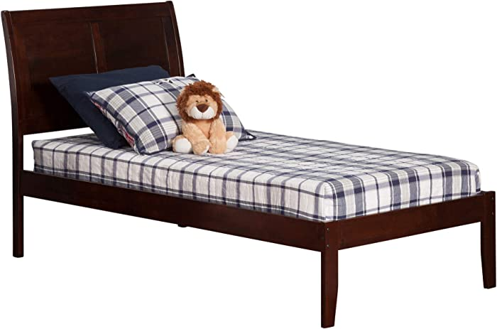 Atlantic Furniture Portland Platform Bed with Open Foot Board, Twin XL, Walnut