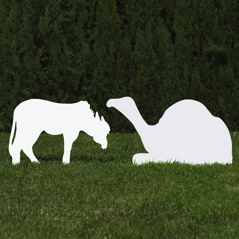 Outdoor Nativity Store Outdoor Nativity Set Add-on - Donkey and Camel (Standard, White)