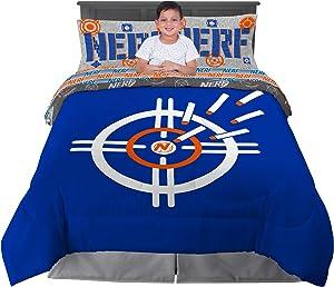 Franco Kids Bedding Super Soft Comforter and Sheet Set, 5 Piece Full Size, Hasbro Nerf