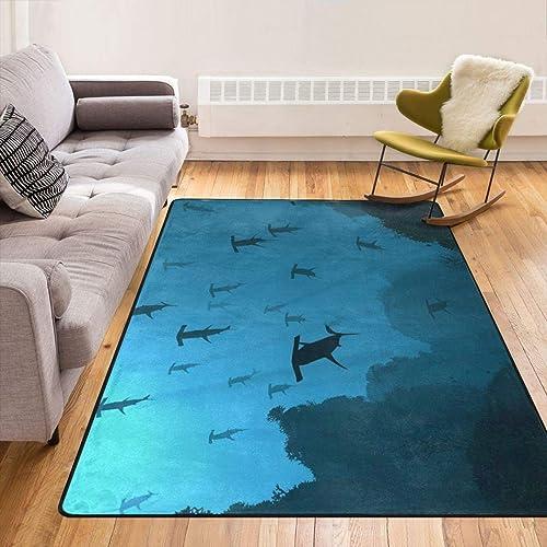 Ultra Soft Ocean Sea Blue Hammerhead Sharks Area Rug