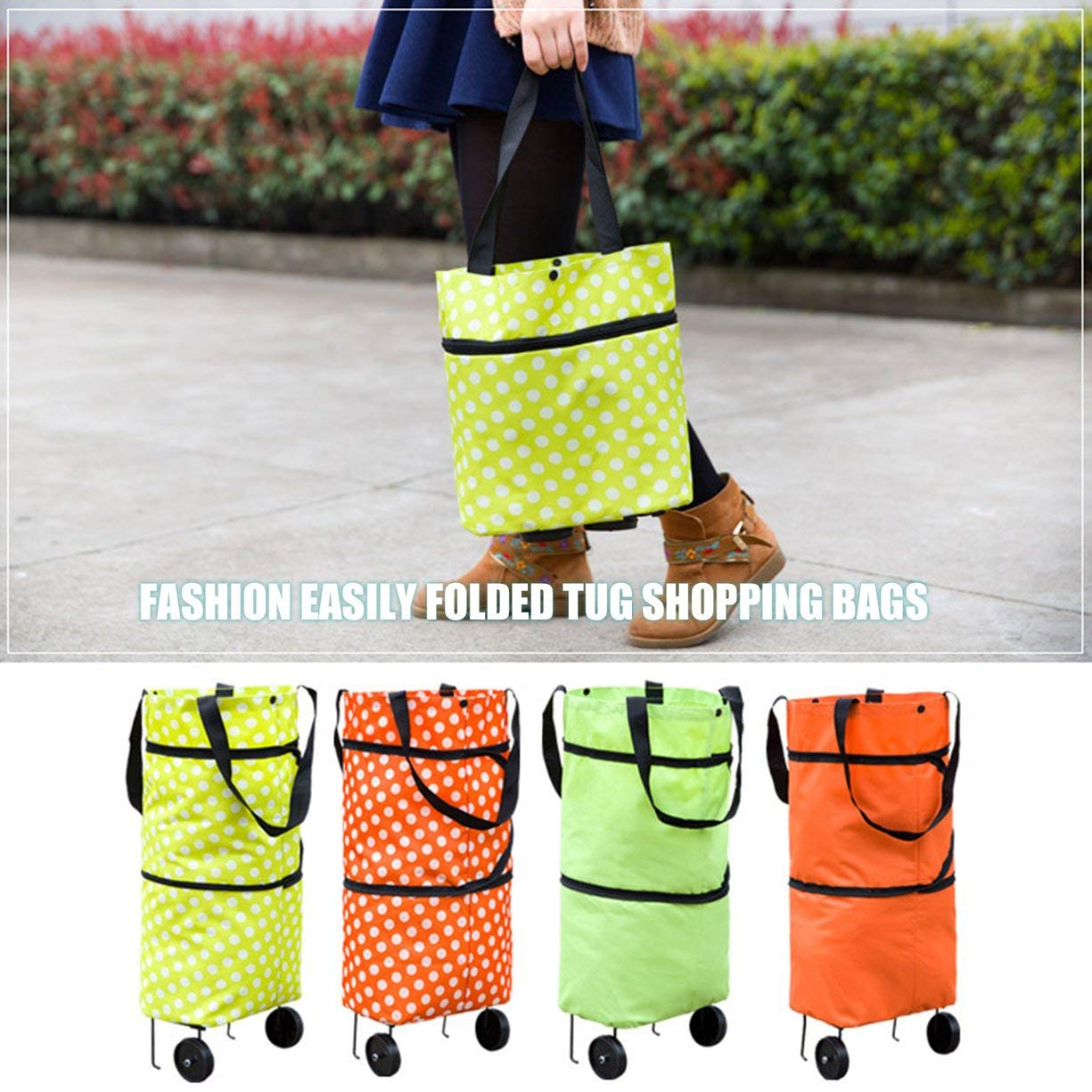 Shopping Trolley Wheel Bag,Fashionable Design Large Capacity Waterproof Oxford Cloth Foldable Shopping Trolley Wheel Bag Traval Cart Luggage Bag by Detectoy (Image #4)