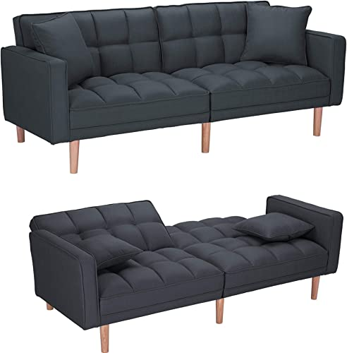 Modern Futon Sofa Couch Convertible Sleeper Sofa Bed,Sectional Sofa,Fabric Recliner Back and Armrest Sofa Couch - a good cheap living room sofa