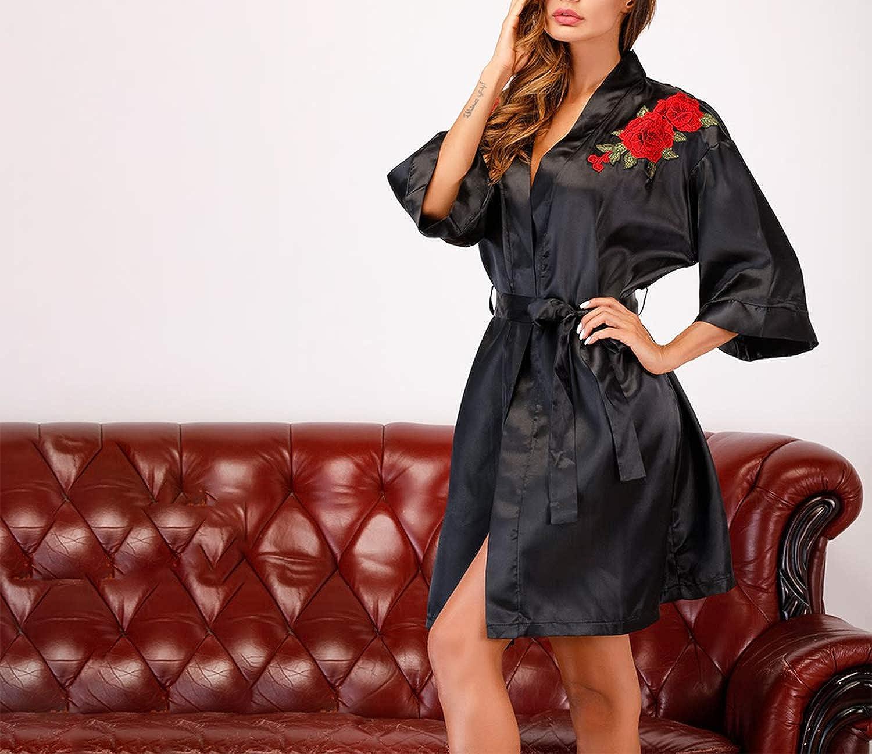 Traje de Noche de satén Bordado Floral Batas de Seda Negras Ropa de Mujer Ropa de Dormir Profunda de Manga Larga Vestido camisón Homewear: Amazon.es: Ropa y ...