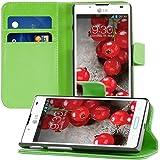 kwmobile Hülle für LG Optimus L7 II P710 - Wallet Case Handy Schutzhülle Kunstleder - Handycover Klapphülle mit Kartenfach und Ständer Grün