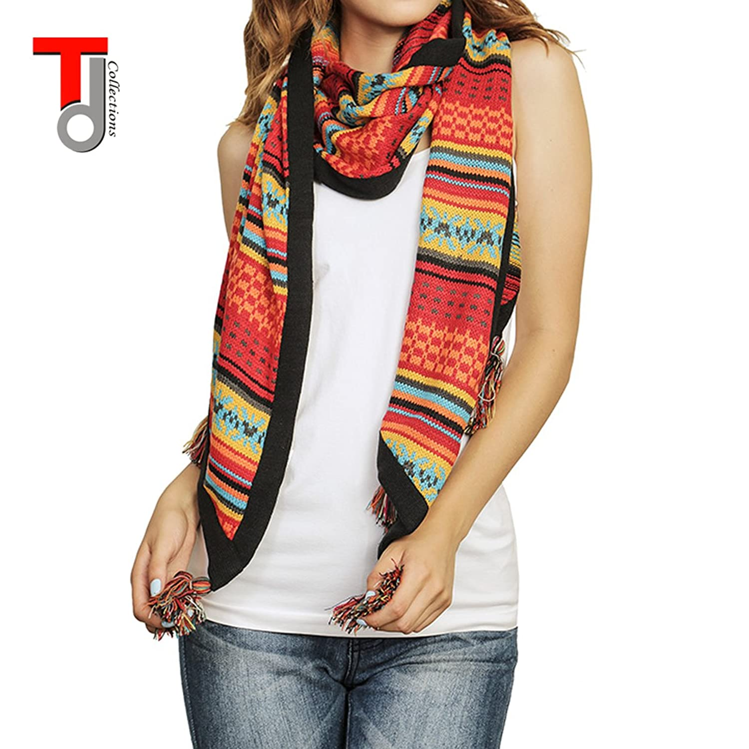Women's Reversible Plaid Design Oversized Winter Scarf - Red