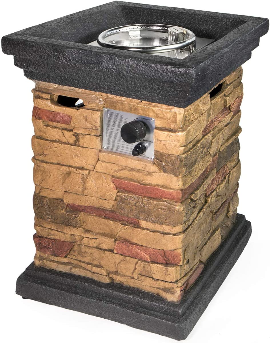 Barton 40,000 BTU Outdoor Propane Fire Pits Column Lava Rock Patio Heater Gas with Weather Cover, Slate Rock Finish