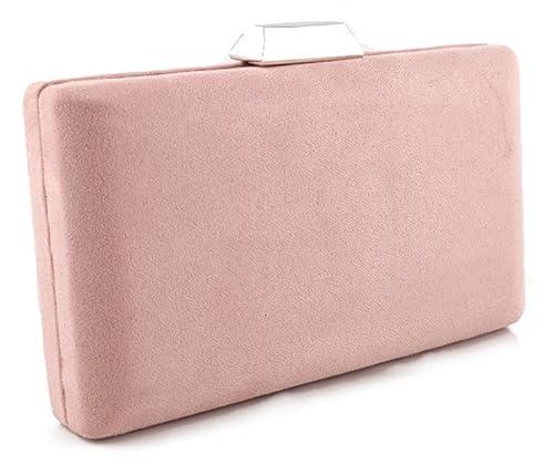 Mis Bolsos Online bolso clutch de fiesta antelina rosa palo: Amazon.es: Zapatos y complementos