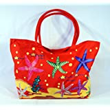Waterproof Jumbo Red Canvas Beach Tote Bag Sea Starfish Design Zipper Closure 24 X 15 X 6""