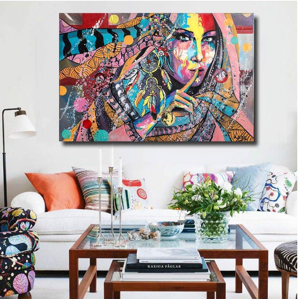 N / A Pintura sin Marco Arte Moderno Graffiti Belleza Sala de Estar Lienzo de Pared decoración del hogar póster ZGQ7049 60x90cm