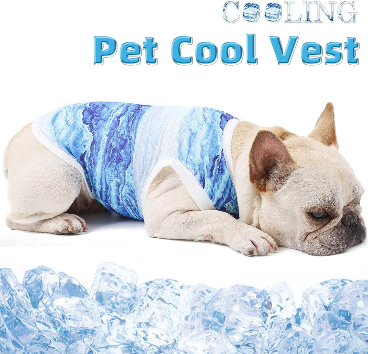 PUMYPOREITY Dog Cooling Vest T-Shirt, Instant Cooling Pet Clothes, Soft Breathable Hot Summer Tank Top Cloth for Dog Cat Puppy Bulldog, Cooling Ice Vest for Walking Exercise Hiking