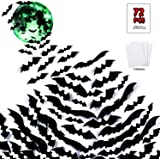 Mitcien 72PCS Halloween Bats PVC 3D Scary Bats with Moon Wall Sticker Glow in the dark for Halloween Party Home Decoration Sc