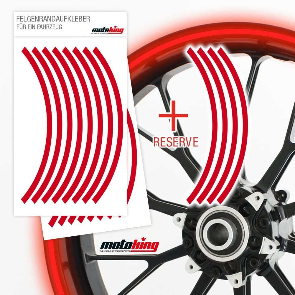 Farbe /& Breite w/ählbar Motoking Felgenrandaufkleber 360/° REFLEKTIEREND ganzer Kreis f/ür 15 bis 18