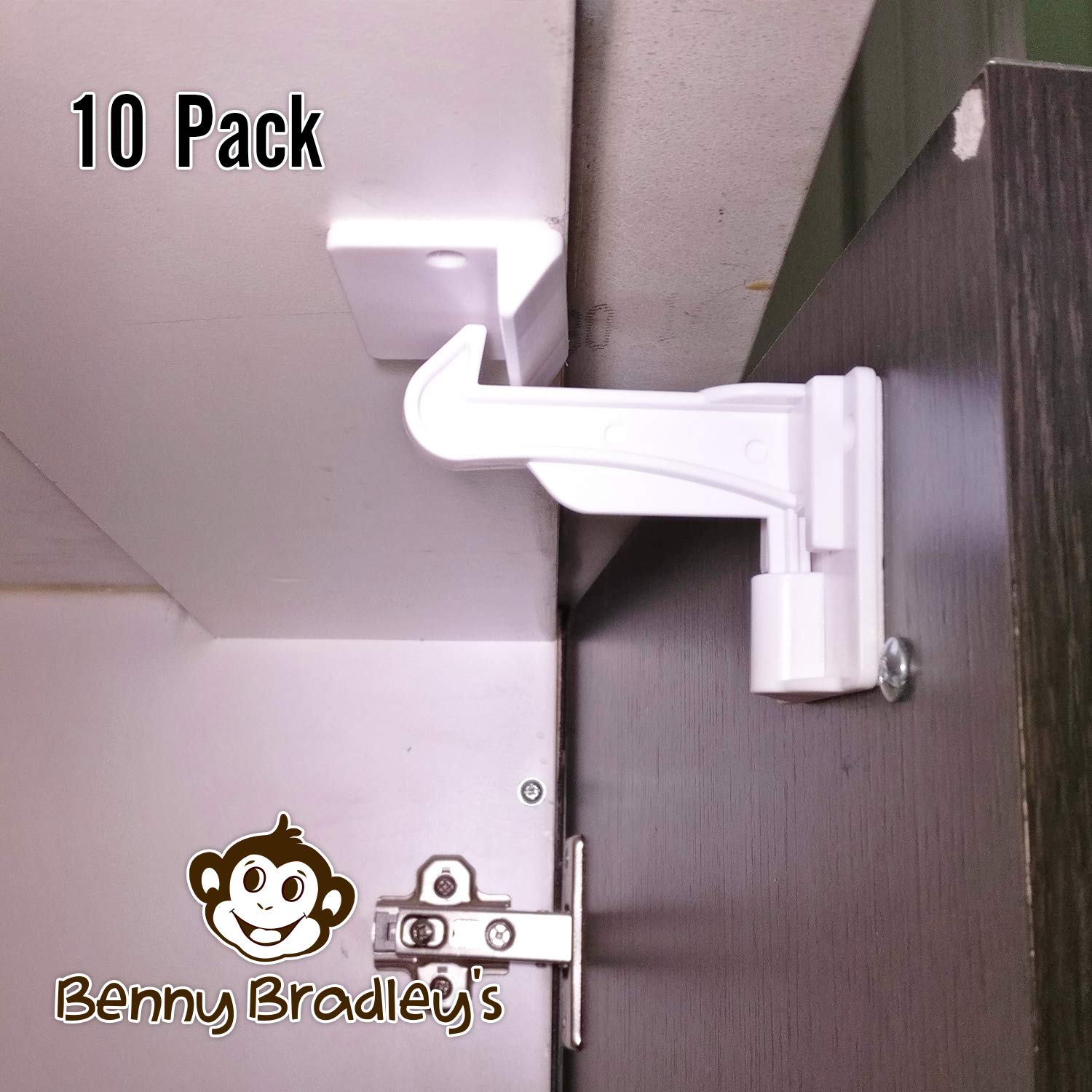 UPGRADED Invisible Baby Proofing Cabinet Latch Locks (10 Pack) - No Drilling or Tools Required for Installation, Universal for All Cabinets and Drawers, Works with Countertop Overhangs, Highly Secure - (WHITE) Benny Bradley' s