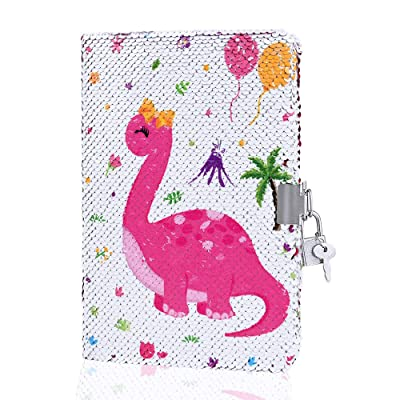 "WERNNSAI Reversible Sequin Dinosaur Notebook - 5.9"" x 8.2"" Cute Dino Sequins Journal for Girls Birthday School Travel Secret Diary Notebook with Lock and Key: Toys & Games"