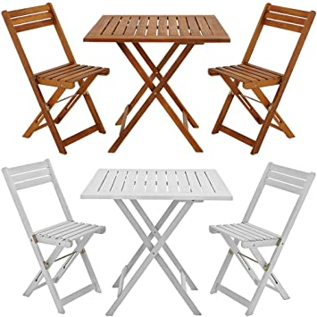 wooden garden dining furniture set folding table chairs set acacia hardwood outdoor white - Folding Table And Chairs