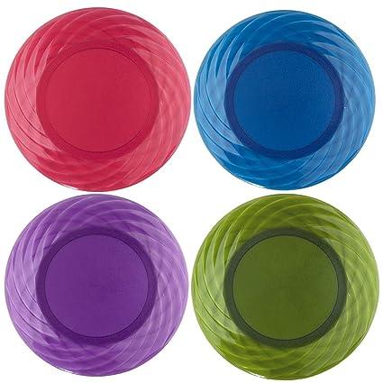 Optix 10-1/4 inch Plastic Plates | Set of 8 in 4 Assorted  sc 1 st  Amazon.com & Amazon.com | Optix 10-1/4 inch Plastic Plates | Set of 8 in 4 ...
