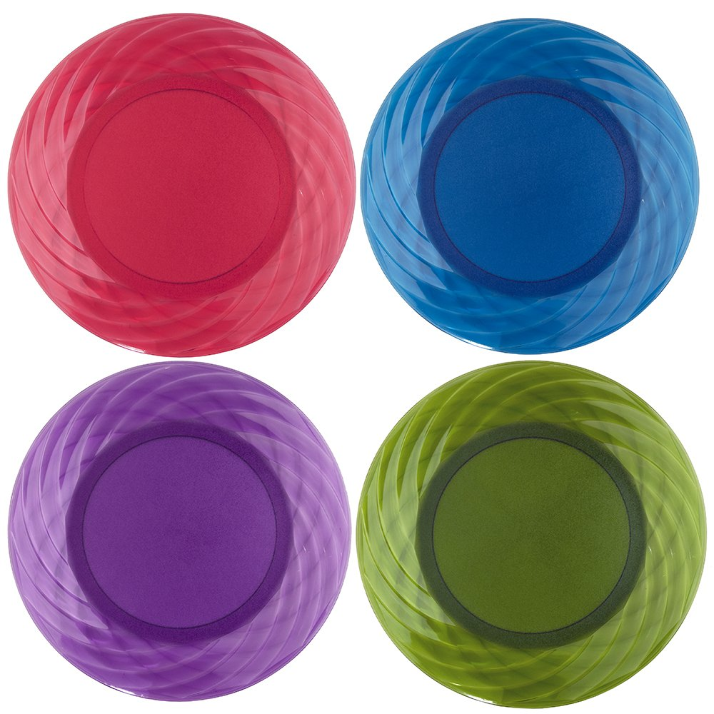 Optix 10-1/4 inch Plastic Plates | Set of 8 in 4 Assorted Colors