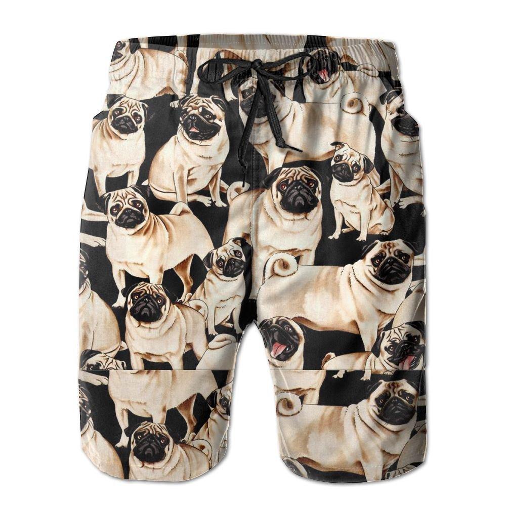 Qpkia Cute Pugs Men Quick Dry Beach Board Shorts Pants Pocket