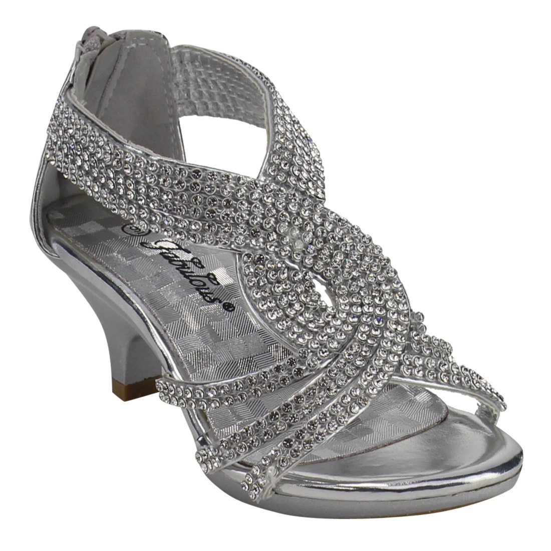 Link Angel Little Girls Rhinestone Heel Platform Dress Sandals Shoes