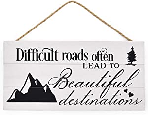 Mienno Difficult Roads Often Lead to Beautiful Destinations Wood Hanging Sign, 7x14 inch Solid Wood Plank Hanging Sign, Decorative Inspirational Wood Signs with Sayings, Home Decoration Signs