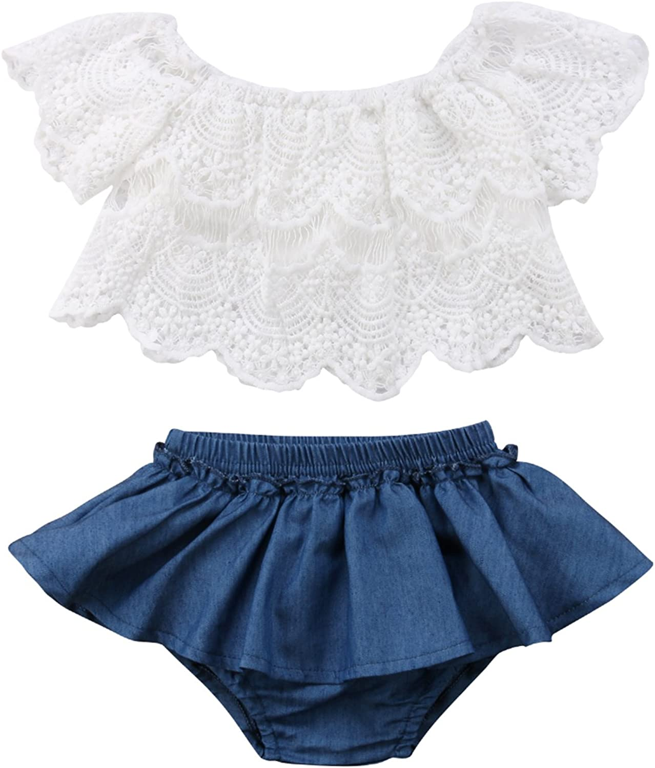 Toddler Newborn Baby Girl 2pcs Outfits Off Shoulder Lace Tops+Denim Shorts Skirt Clothes Set