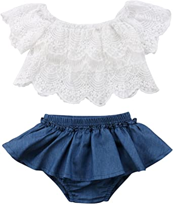 2pcs Toddler Baby Girls Outfits Lace Tops+Skirt Kids Summer Clothes Set