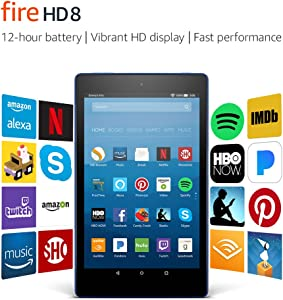 """Fire HD 8 Tablet with Alexa, 8"""" HD Display, 16 GB, Marine Blue - with Special Offers (Previous Generation – 7th)"""